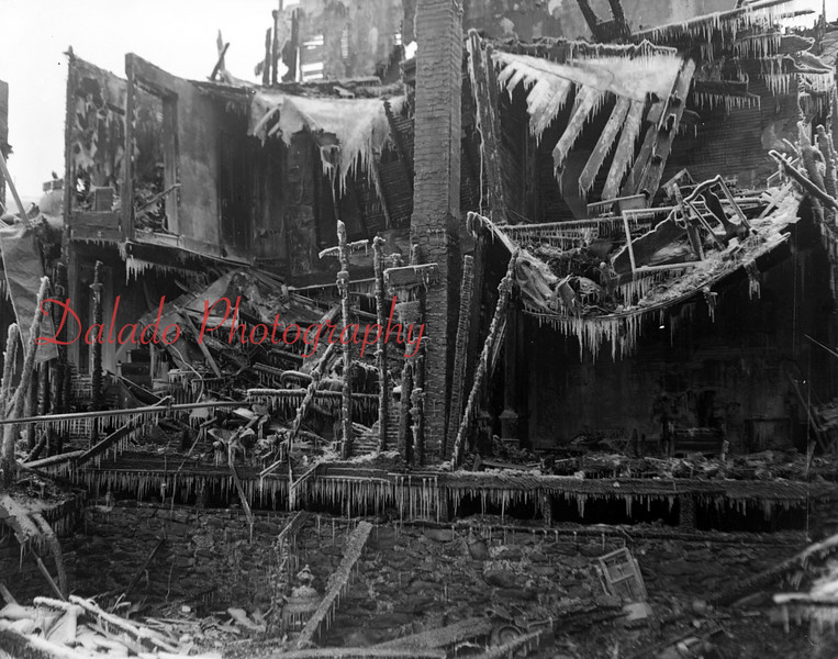(Feb. 1954) Fire destroyed 14 homes and 43 persons homeless in Mount Carmel from a fire.