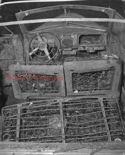 (Sept. 1959) Remains of a car fire owned by John Baranoski that occurred in Kulpmont.