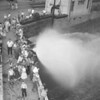(1959) Hose lines off Market Street bridge.