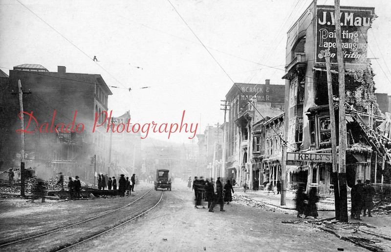 "(12.16.1916) Fair Store Fire- Fire caused more than $500,000 in 1916 dollars on both sides of Independence Street, from Anthracite Street to near Eighth Street, including the Fair Store, one of Shamokin's leading businesses. It is Shamokin's costliest blaze...[This photo is looking east on Independence Street. The ""Fun Shop"" Building is at left.]"