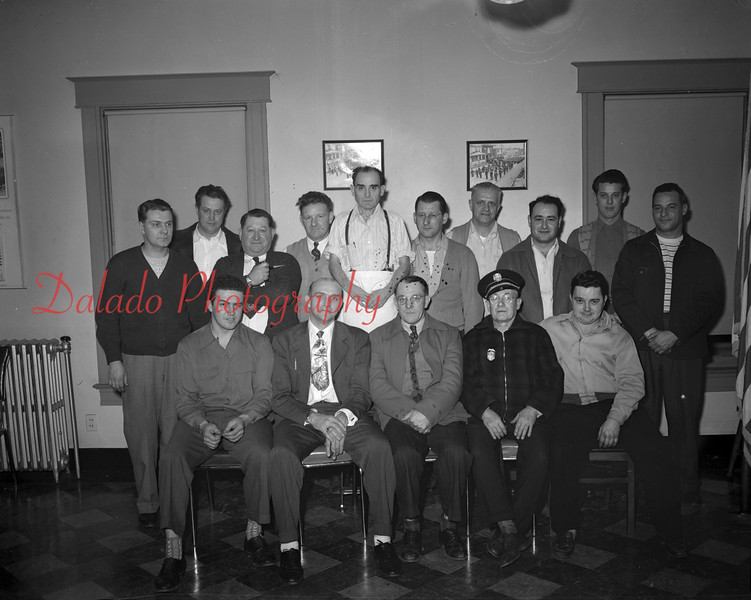 (01.11.1951) West End Fire Company- West End Fire Company officials installed on Jan. 11, 1951. Pictured are, seated, from left, George Miller, Elmer Miller, David Dallatore, Paul Mizak and Leonard Pauzer; standing, Michael Benedetto, Fred Anselm, Anthony Manello, Clarence Shively, Albert Kurtines, Albert Dallabrida, Marlin Becker, Edward Murdock, Felix Alexander and Edwin Pauzer.