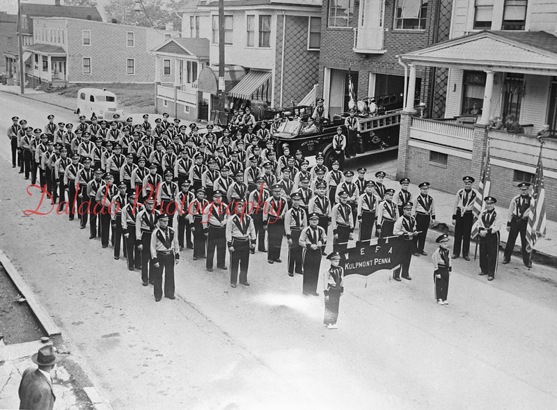 (1951) West End Fire Company in front of their quarters along Chestnut Street.