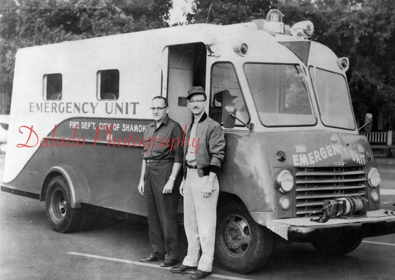 Emergency Unit- A bakery truck was converted into a  rescue vehicle by the City of Shamokin in 1962. Shown with the unit are Robert Kline, left, Trevorton fire chief who instructed a class of more than 20 people in rescue operations; and Shamokin councilman Claude E. Kehler Jr., director of public safety.