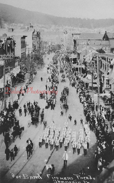 (1908) Photos of photos of the firemen's convention in Shamokin.