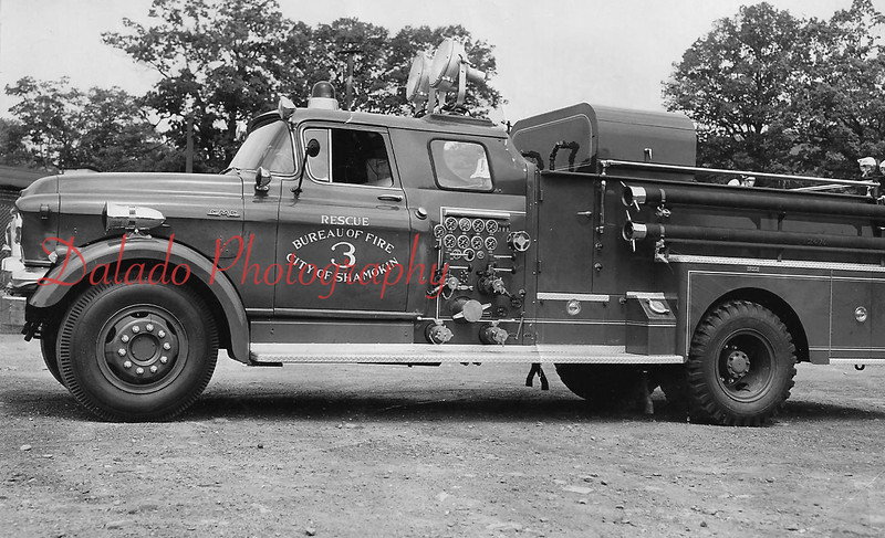 (1957) Rescue Fire Company- Shown is the company's 1943 GMC two-stage 750 gallon per minute pumper. It was also equipped with two 1000-watt flood lights. In service from 1943 until 1979.
