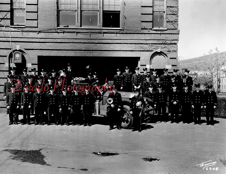 (1933) Members of the Independence Fire Company are pictured with their 1920 triple combination American LaFrance while they prepare to participate in a community program. They include, front row, from left, Charles Eveland, Bill Coaker, Frank Hand, George Derk, Frank Sminkey, Harvey Polan, Arthur Derr, Elwood Tyson, Dick Rodman, Bert Strausser, Xenus Herb, David Rowe, James Bryson, George Price and Russel Faust. Second row, Clearance Rhoades, Bird Richie, Tim Brainbridge, William Wilcox, S. Miller, Chick Albright, Don Hill and Dutch Lahr. Back row, Adam Swift, Rufus Hornberger, Bill Mintzer, R. Walter Rhoades, Roy Hoffe, unknown, Potash (Mascot), Bud Dewey, Rol Schleig, Harry Whary, Ed Miller, John Coaker, unknown, unknown, and Bill Mintzer.