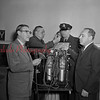 (01.10.1952) New respirator equipment displayed at City Hall in Shamokin on Jan. 10, 1952. Pictured are, from left, Maurice Liachawitz, chairman of committee and past president, Myron Reese, chief of police, Joseph Pitorak, patrolman, and Vincent Joyce, president of rotary.
