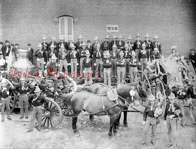 (05.30.1891) Members of the Independence Fire Company pose with their La France Steamer, the only one used in Shamokin, before a Memorial Day Parade. Residents of Shamokin donated $500 towards its purchase. Pictured at right is a horse drawn reel carriage.
