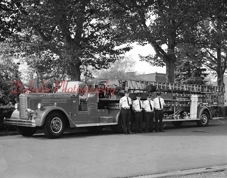 Rescue Fire Company- Shown is the company's 1947 Peter Pirsch 85-foot tiller ladder truck. In service from 1947 until 1980.