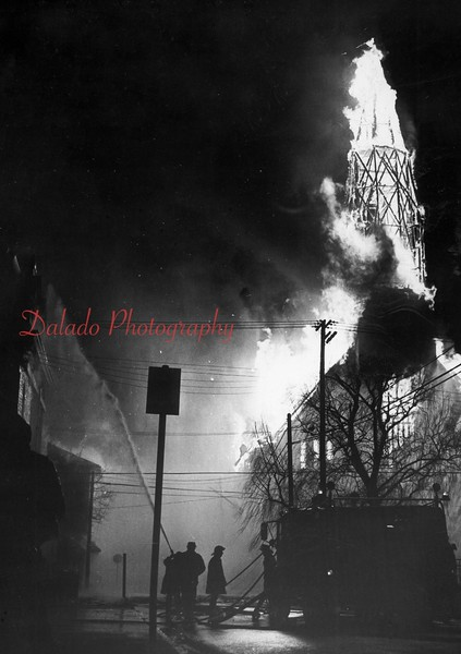 (04.08.71) St. Edward Church fire. Harry Deitz won an award for this photo, which was circulated across the country.
