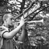 (July 1952) Gerald Hile, of Tharptown, sounds reveille as the day's activities begins at Camp K., the Susquehanna Valley Area Council summer headquarters.