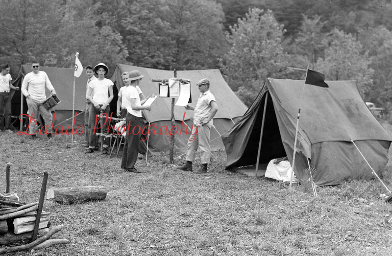 (May 1958) Office efficiency in the field is evident in  this picture of Explorer Post 2260, of St. Stan's, Shamokin.