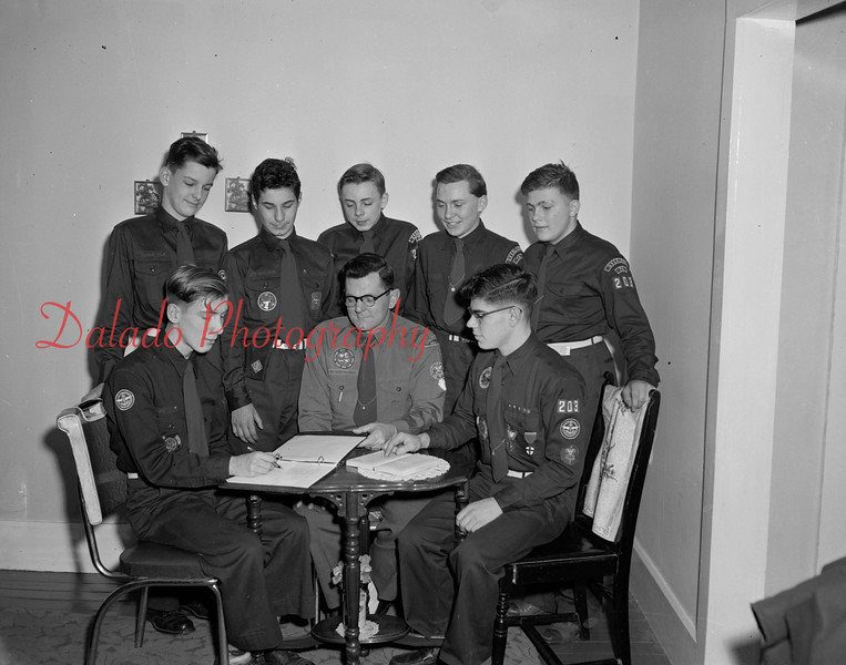 (02.09.1956) Explorer Post 2203, Overlook, on Feb. 9, 1956. Seated are Harold Aurand, Robert Derrick, Tharptown advisor; and Richard Knoebel, leader; standing are William Roadarmel, Robert Derrick Jr., Jimmy Fisher, Edward Dietrick and John Manley.