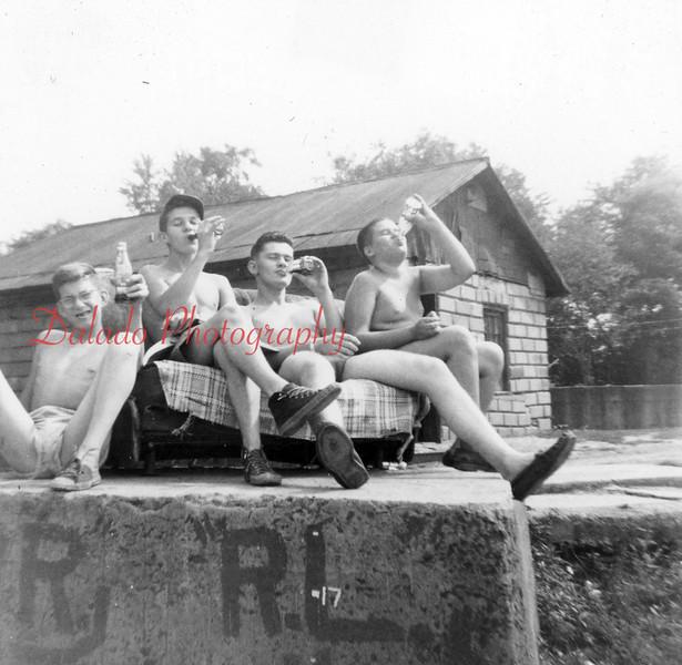 (Aug. 1955) Boy Scouts water fun.