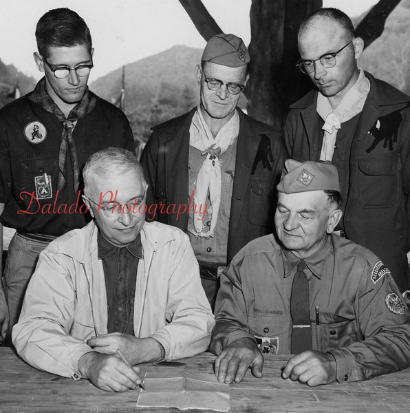 (May 1958) Leaders of the camp are, front, from left, Edward B., neighborhood commissioner; and Joseph Karasevich; assistant district commissioner; standing, J. Strine, district Scout executive William Moorhead, Scout executive Susquehanna Valley Area Council; and Ronald Dommermuth, Sunbury district Scout executive.