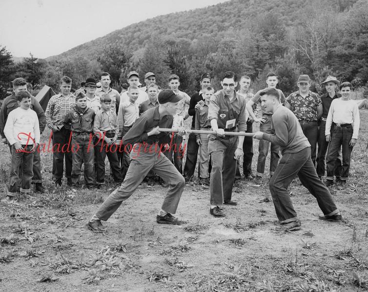 Boy Scouts tug of war.