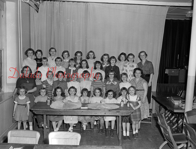 (March 3, 1955) Girl Scouts of Trinity Lutheran Church on March 3, 1955. Pictured are, first row, left to right, Ruth Wertz, Nancy Weiner, Susan Shroyer, Linda Pnatoski, Darlene Hall, Hope Friedman, Carol Geish, Sharon Varano and Donna Ponatoski; second, Mrs. Cara Faltz, Patsy Stahl, Barbara Phillips, Catherine Fry, Beverly Leivis, Linda Strausser, Peggy Shade, Mary Koons, Gloria Yoder and Mrs. Margaret Ponatoski; third, Mrs. Larraine Jenkyn, Mary Neill, Ruth Snyder, Judy Reese, Jean Kramer, Sara Jane Haupt, Jean Wensel, Sarah Hertzog and Mrs. Strausser; back, Deane Bohner, Judy Strausser, Judy Williams, Karan Evans, Janice Jenkyn, Karen Warmkessel and Cynthia Shade.