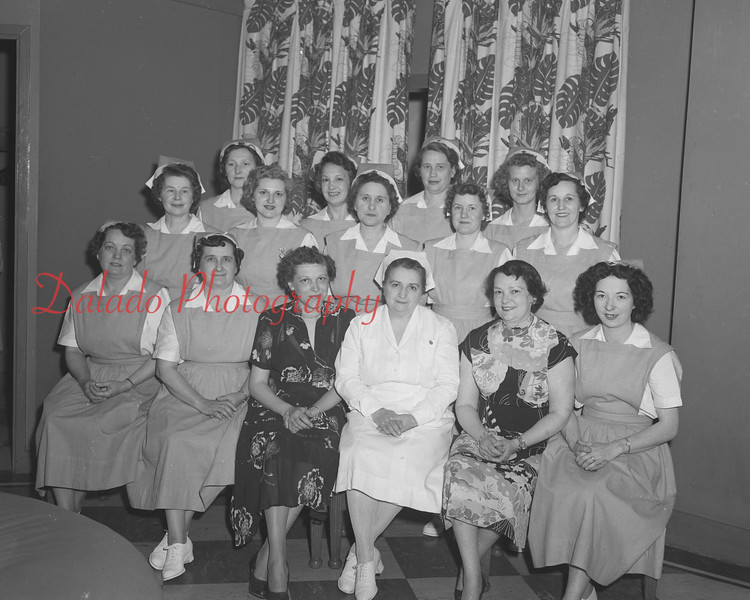 (05.22.52) Nurses aides of the American Red Cross are, from row, from left, Florence Helderbrand, Francis Petruskevich, Adeline Kale, Lillian Kublic, Edwin Smith and Betty Hine; second, Mary Malick, Violet Lewis, Regina Lucas, Helen Strine and Mary Feori; third, Ann Mauser, Dorothy Siegfried, Verna Wise and Helen Gallagher.