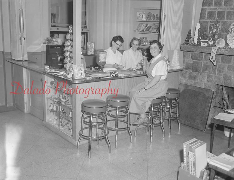 (10.20.55) Corner shop at Shamokin Hospital are Kathryn Lichtel, Tillie Shutt and Grace Smith.