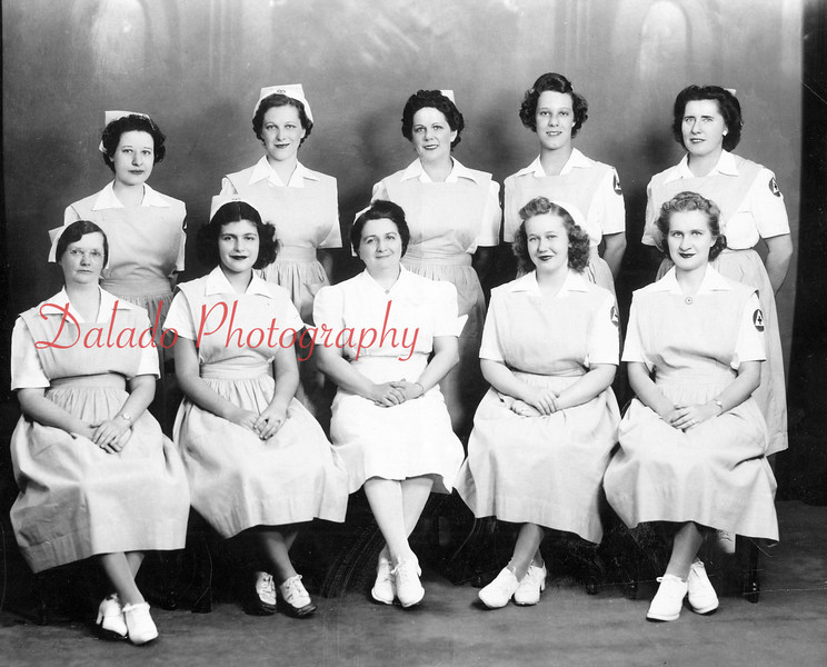 (1943) Nurses Aids- Pictured are, front row, left to right, Mary Miller, Caroline Patt, Lillian Kublis, Nancy Kline and Elva Brouse; back, Martha Hummel, Adeline Kale, Elizabeth Johnson, Peggy Farrow and Lory MaSherry.