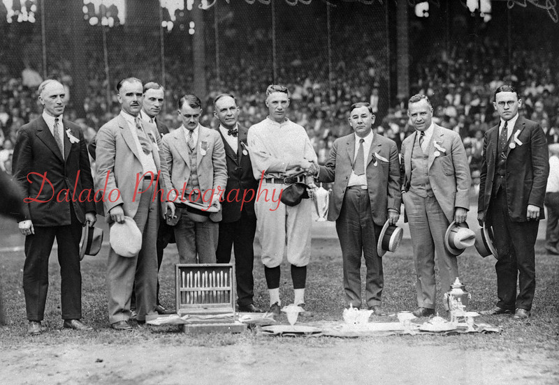 (1925) Coveleski Day at Shibe Park, Philadelphia, when Stanley Coveleskie, Shamokin's finest baseball player, pitched for the Washington Senators against the Athletics on Labor Day 1925. Pictured are, from left, John Coveleskie, B. Lee Morgan, Harry Coveleskie, Ollie Bramhall, Gal MacElwee, Stanley Coveleskie, Judge Albert Lloyd, Con Graeber and Stanley Kleczynsky.