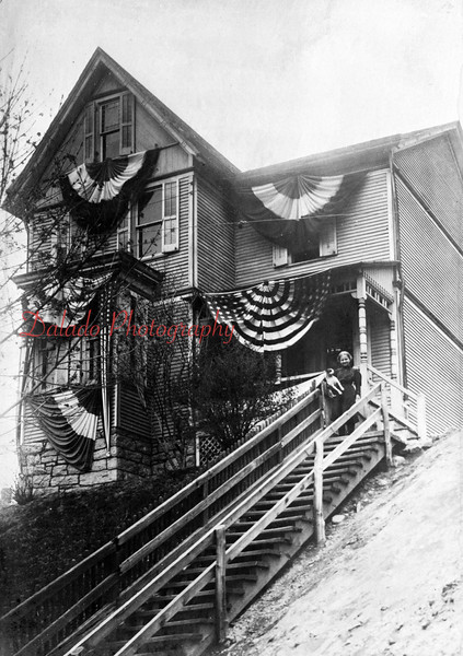 (1914) Bealor Home. Decorated for the celebration. Located at the top of Spruce Street at Diamond Street.