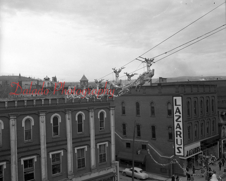 (12.20.1951) Christmas display over Independence Street, Shamokin.