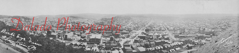 Don't be fooled by the photo's size. Although it's height is only about 4 inches, the width is a standard 8 inches, allowing the viewer to look into the heart of Shamokin. This photo was taken from the Cameron Bank. Directly in the middle of the photo is Market Street.