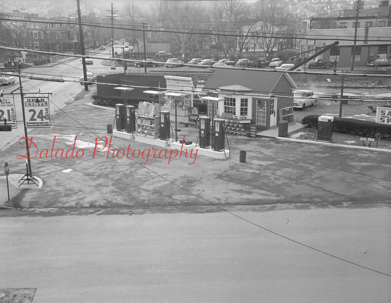 "(1956) Spurr Gas Station- On the southwest corner of Sixth and Walnut streets, this gas station would eventually be torn down. Weis Markets, which later purchased the property, broke ground for the Amity House Ice Cream Shoppe on Oct. 28, 1969. The family restaurant, known for its ""super sundae,"" a large bowl of ice cream popular with children and adults alike, opened May 22, 1970. Weis announced in July of 1992 that the Amity House would close after more than 20 years. Shamokin Family Restaurant, owned by Nick Barakos, opened here Sept. 30, 1992. The Movie Gallery, a video store, was the last tenant before closing in the summer of 2010. Weis demolished the short-lived building on Nov. 8, 2012."