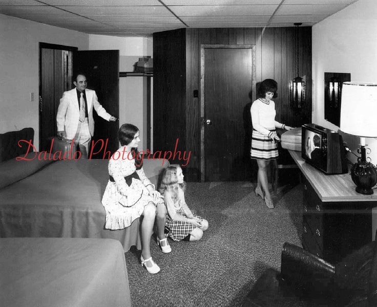 (1974) Mr. & Mrs. Andrew J. Mihalik and family model one of the rooms. Mr. Mihalik was assistant superintendent of Shamokin Area School District when this photo was taken...