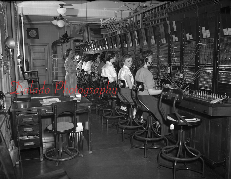 (01.25.1951) Telephone operators on Jan. 25, 1951. Chief operator is Anna Hobson.
