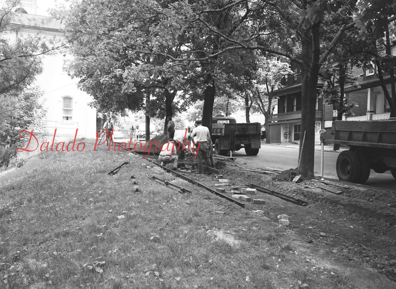 (1959) Laying down tracks near Shamokin City Hall for a mine display.