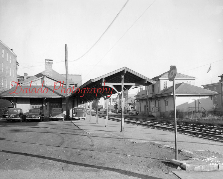 This is a view of Pa. Railroad (PRR) tracks looking east on Commerce Street.