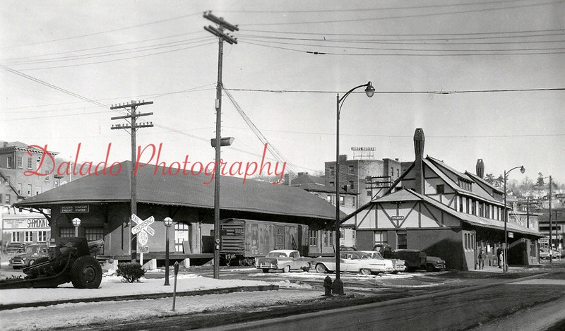 Reading Railroad Company Freight and Passenger stations- Demolition of the station, right, began in Oct. of 1965 to make room for parking improvements. The freight station was razed in the spring of 1966.