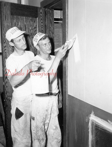 This could by the Joseph Povleski painting company painting the Shamokin High School in 1953. A total of six workers painted the school.