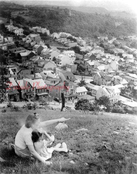 A woman and child taking in the view from Raspberry Hill.