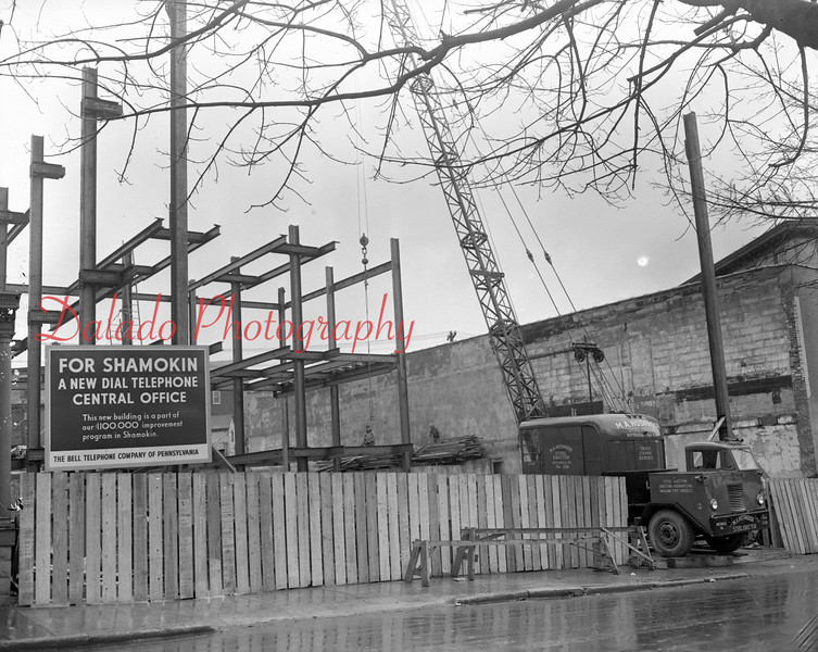 "(03.22.1951) Construction of ""New Dial Telephone Office"" along Lincoln Street in Shamokin."