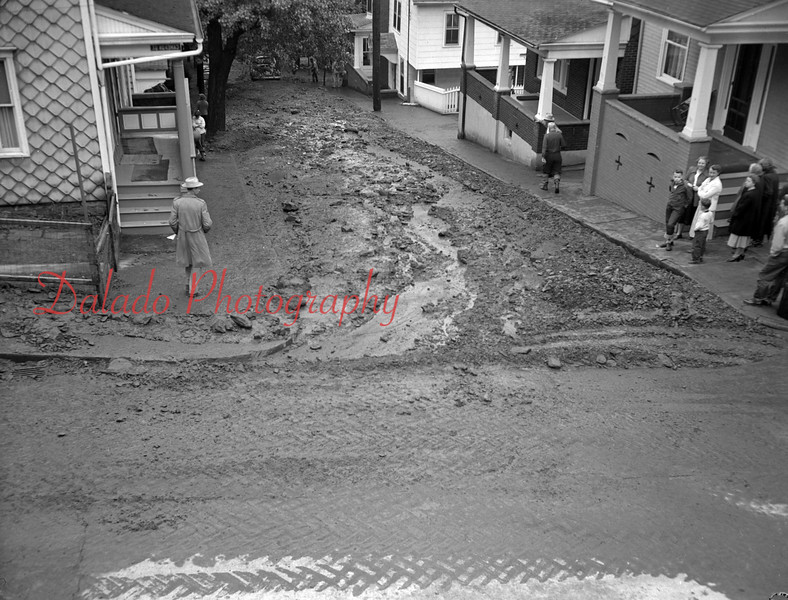 (05.26.53) Culm washes on streets in Bunker Hill. Mud, culm and debris cover Orange Street, at Cameron Street,