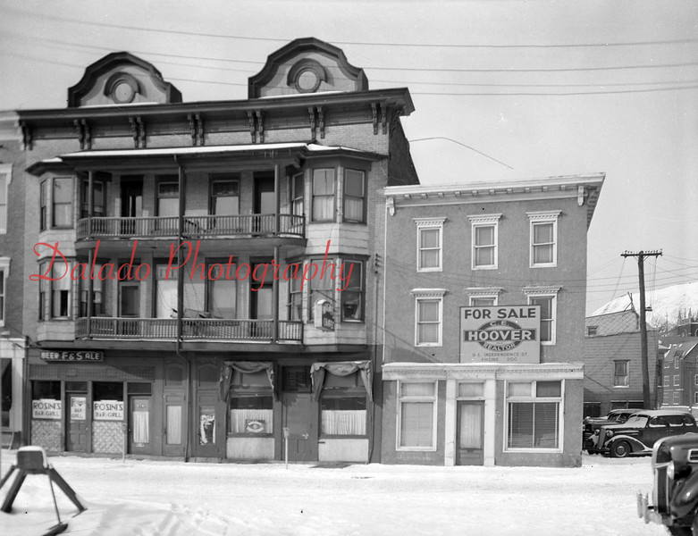 """Richie's Cafe- Corner of Liberty and Independence streets. One resident was killed in what is considered the coldest fire in Shamokin's history on March 1, 1967. Fire originated in the Phi Rho Sigma Fraternity Building (far left). The fire destroyed Richie's and the building was torn down a few weeks after the fire. Although in bad shape, the building on the right stood until 2012. The Fire: <a href=""""http://www.daladophotography.com/The-Thomas-Collection/Old-Fire-Fighting/3333623_xc79SC#!i=1321295855&k=RMV8ntD"""">http://www.daladophotography.com/The-Thomas-Collection/Old-Fire-Fighting/3333623_xc79SC#!i=1321295855&k=RMV8ntD</a>"""