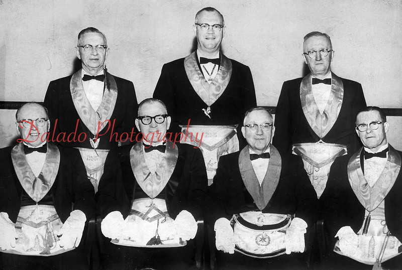(1964) Shown here are officers for the Shamokin Lodge No. 255. Seated are, from left, Cedric Hepner, senior warden; Wilbert Esher, worship master, Russell Yost, district deputy grandmaster; back, Wesley Zartman, past master and secretary; William Anderson, past master and chairman of committee on Masonic culture; and John Phillips, past master and treasurer.