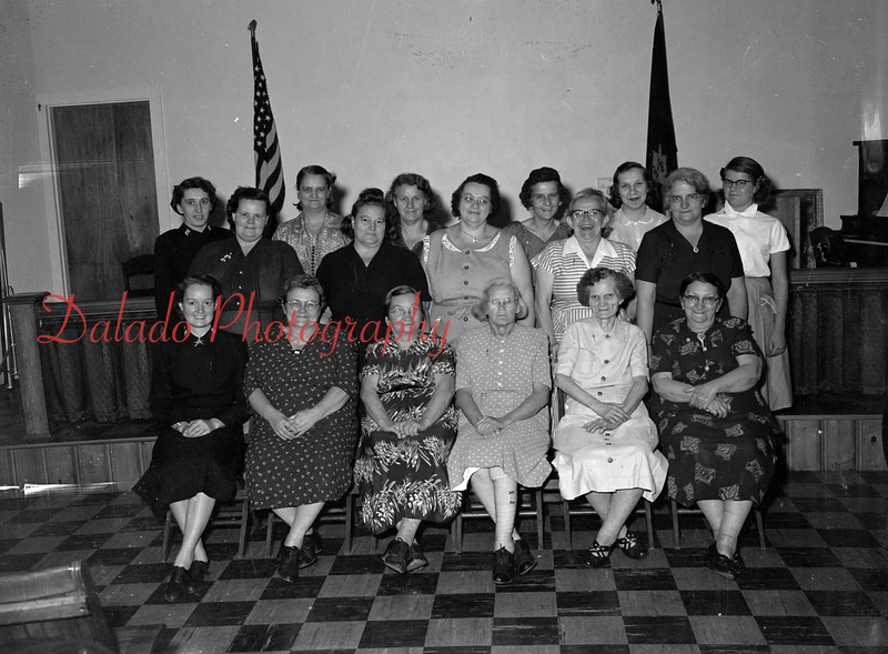 (10.21.1954) Salvation Army Cancer Dressing Unit on Oct. 21, 1954. Shown are, front row, from left, Stella Fessler, Eliza Burke, Minnie Waldroff, Flora Dent, Carrie Christ and Capt. Lance; second row, Phoebe Cox, Marian Seger, Hazel Yocum, Gertrude Paul and Margaret DioRio; third row, Mary Ann Zanders, Betty Persing, Anna Zanders, Lillie Persing, Florence Reese and Lt. Rea Foulds.