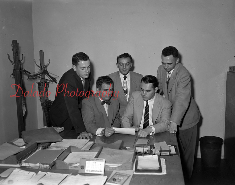 (09.29.1955) Members of the Junior Chamber of Commerce on Sept. 15, 1955. Pictured are, first row, from left, Fritz Reed, Dane Reed, Attorney Harry Nagle, Dr. Charles Schlegel, Ron Kahler and Tom Williams; second, Perry Woolcock, Tom Carr, Dr. James Gehris, Jake Reed, Leonard Walencevicz, James Holland and Leonard Lucas; third, Carl Kresge, John Chaplinsky, William DiZurko, Tom Kopitski, John Reed, Joseph Zator, Charles Clark and John Koveliski.