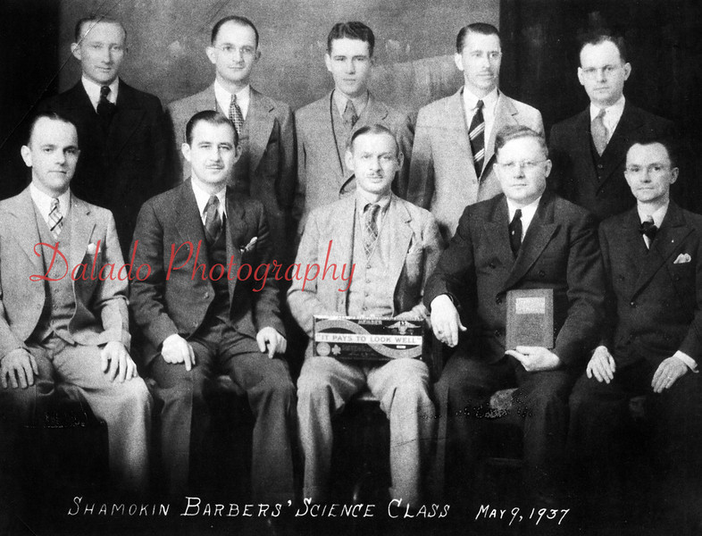 (05.09.1937) Shamokin Barber's Science Class- Pictured are, front row, from left, Lamar Koble, Leon Misco, Howard Groff, instructor; Marlin Kramer, who had a barber shop at 942 W. Walnut St. in Shamokin; and Harold Rarick; back, Andrew Mazur, Charles Martz, William Rebuck, John Richards and Edward Koble.
