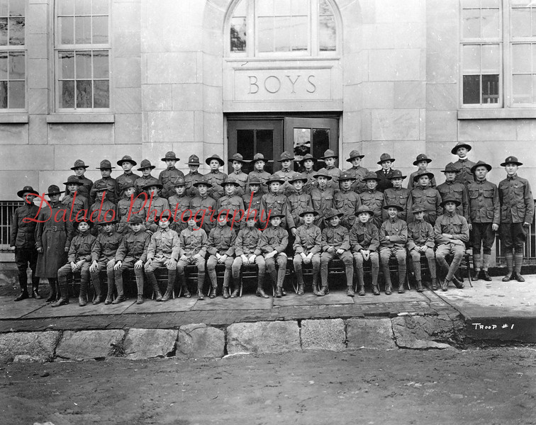 (1918) Boy Scout Troop #1 in front of the Shamokin High School at Eighth and Arch streets. Scoutmaster B. Frank Startzel is shown in the extreme-left of the photo
