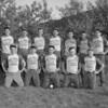(06.10.54) Billy Porto's Swingers are, front row, from left, R. Lewis, Don Carstairs, A. Pacocha, E. Janaskie and L. Janaskie; second, B. Carstairs,  captain; H. Fertig, Chick Fertig, coach; B. Shulskie, E. Shulskie, A. Cerkiefskie and A. Tomcavage.