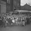 (1950 or 51) Baseball players before a trip.