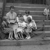 (07.19.53) Story Hour at the Academy School. Betty Goheen reads tp students, front row, from left, Betty Jane Sock, Faye Wetzel and Susan Zaner; back, MaryAnn Reichwein and Mary Barbara Sock.