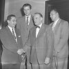 (04.21.55) Anthony Myron Moskowitz extends a welcome during the 11th annual all-sports banquet. Also in attendance were Ken Laeffler, second from right, head coach at Lasalle University, Tom Gala, second from left, and William Von Breda Kkoff, head cage mentor at Lafayette College.