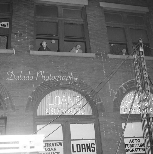 (Oct. 1958) Likely fire training at the Fun Shop building.