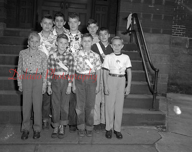 (10.04.53) Garfield Patrol Boys are, front row, Albert McWilliams, Marlin Burrows, Thomas Moore and Stanley Ponatoksi; second, Bob Kleinschmidt, James Keiser and Robert Kline; third, John Kline and Charles Neidig.